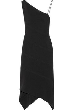 Dion Lee - One-shoulder Paneled Stretch-crepe Midi Dress - Black - UK12