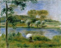 Landscape - Banks of the River. Renoir