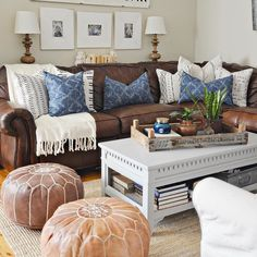 Family room design – Home Decor Interior Designs Brown Couch Decor, Brown Leather Couch Living Room, Living Room Decor For Brown Couches, Brown Leather Couches, Blue And Brown Living Room, Dark Brown Couch, Cognac Leather Sofa, New Living Room, Living Room Sofa