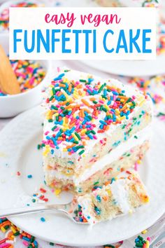 This delicious vegan funfetti cake is filled with vanilla flavor and plenty of rainbow sprinkles. So pretty and packed with flavor! #vegancake #veganfunfetticake #vegandessert #vegandessertrecipes #vegancakerecipes #dairyfreecake