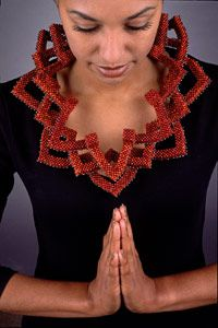 Necklace |  Valerie Hector.  Rust Lotus Necklace. Vintage Japanese Synthetic Resin Beads, Sterling Silver Beads.
