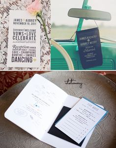 Wedding Stationery  Great Mix of Type on Paper and Fabric  Invites with Pop Quiz and activities