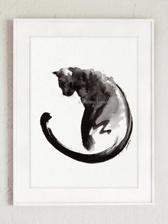 Black Cat Art Original Handmade Wall Decor Painting by SamuraiArt #watercolorart #originalart #etsy #sumi-e #zen #zenga #art #kunst