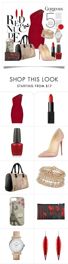 """Red & Nude"" by colormegirly ❤ liked on Polyvore featuring Hervé Léger, NARS Cosmetics, OPI, Christian Louboutin, ALDO, FOSSIL, Mark Davis, handbags, fashionset and polyvoreset"