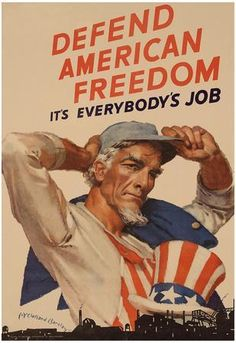 Uncle Sam Defend American Freedom It's Everybody's Job WWII War Propaganda Art Print Poster American Freedom, American Pride, American History, Ww2 Propaganda Posters, Protest Posters, Patriotic Pictures, Atlantis, Wwii, Print Poster