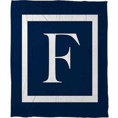 Thumbprintz Classic Block Monogram Fleece Throw, Blue
