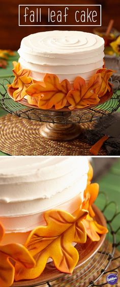 Leaves in the Breeze Cake Fall colors are in the air and captured in a swirl of fondant leaves. Create the golden glow at play on each leaf with the easy-to-use Wilton Decorating Air Brush Set and Airbrush Colors. Source by jbhireable Fondant Cakes, Cupcake Cakes, Simple Fondant Cake, Fondant Tools, Cake Icing, Frosting, Beautiful Cakes, Amazing Cakes, Halloween Torte