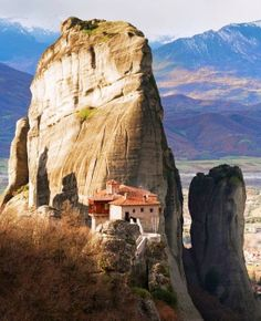 Closer photo of Meteora in Greece, a grouping of tall rock formations where monasteries have been built. - photo by Evgeni Dinev Mykonos, Santorini, Places Around The World, Travel Around The World, Around The Worlds, Bulgaria, Places To Travel, Places To See, Beautiful World
