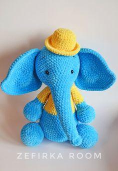 Слоник🐘<br>Чем то похож на Слоника Дамбо😊<br>Рост игрушки 40 см.<br>За основу взяла описание Розовой слоняшки от Янины (jasmine) <br>https://www.liveinternet.ru/users/4640273/post257924714/<br>Увеличила, изменила описание головы, тела, ушей, ножек и ручек.<br>Шляпка<br>* Пряжа Himalaya dolphin ba..