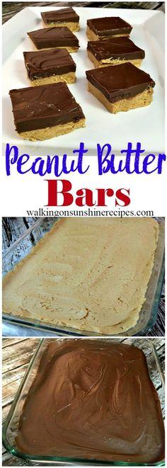 Homemade Peanut Butter Bars Recipe from Walking on Sunshine Recipes