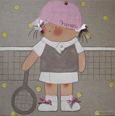 cuadro infantil personalizado. Niña tenis