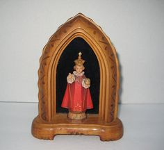 Vintage ANRI Infant Of Prague Statue Beautifully Detailed & Painted Carved Wood IHS Child Jesus Original Sticker Catholic Religious Italy