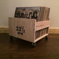 LP Crate with Customizable Lettering by WoodDogStudios on Etsy