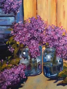 "Daily Paintworks - ""Lilacs and Blue Shutter"" by Libby Anderson"