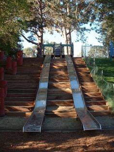 The great metal slides at Oceanview Park in Santa Cruz, CA. These slides are even fun for adults. Bring waxed paper to slide on for extra speed!