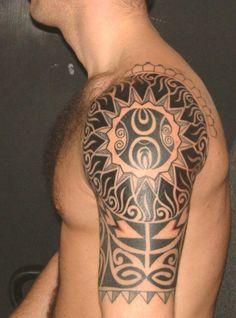 Amazing Arm Tribal Tattoo Design for Men