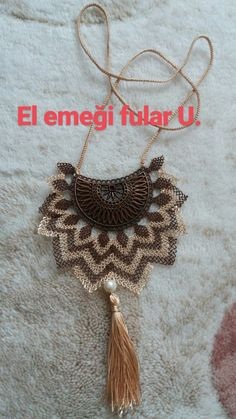 This Pin was discovered by süh Passementerie, Lace Jewelry, Boho, Tatting, Needlework, Diy And Crafts, Knit Crochet, Crochet Earrings, Crochet Patterns