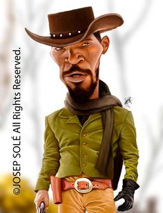 Jamie Foxx in Django (Caricature) Dunway Enterprises… Cartoon Faces, Funny Faces, Cartoon Characters, Cartoon Art, Caricature Artist, Caricature Drawing, Funny Caricatures, Celebrity Caricatures, Black Art Pictures