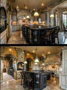 Rustic Italian Home Rustic Kitchen Design, Luxury Kitchen Design, Dream Home Design, Home Decor Kitchen, Elegant Kitchens, Luxury Kitchens, Beautiful Kitchens, Beautiful Interiors, Tuscan Style Homes