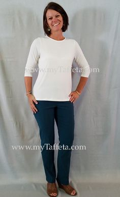 dee49515bcb5e3 Lior Lize in Teal - Heidi is wearing a with the Lior Top in a Small pull-on  pant