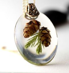 Resin Necklace with Tiny Pine Cones , Botanical Nature Resin Brass Jewelry on Etsy, $32.00