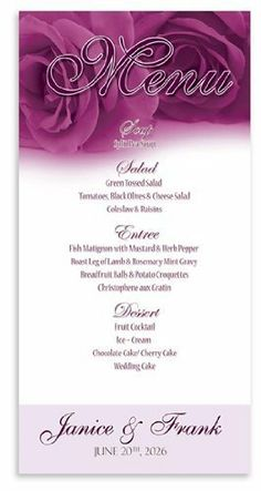190 Wedding Menu Cards - Fuschia Sunset Rose by WeddingPaperMasters.com. $123.50. Now you can have it all! We have created, at incredible prices & outstanding quality, more than 300 gorgeous collections consisting of over 6000 beautiful pieces that are perfectly coordinated together to capture your vision without compromise. No more mixing and matching or having to compromise your look. We can provide you with one piece or an entire collection in a one stop shopping ex...