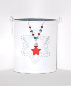 Christmas Is Coming V - Christmas is in the air with this nicely colored necklace. The pendant is made out of wood, and it's a nice red star with a few red glass crystals and a crackle glass bead; the silver metal chain is embellished with red and emerald green wood beads. It's so jolly and nice! Click image to find more cool handmade jewelry by me! #red #necklace #star #HolidaySeason #ChristmasIsComing