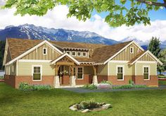 Craftsman House Plan with Vaulted Family Room - 68404VR | 1st Floor Master…