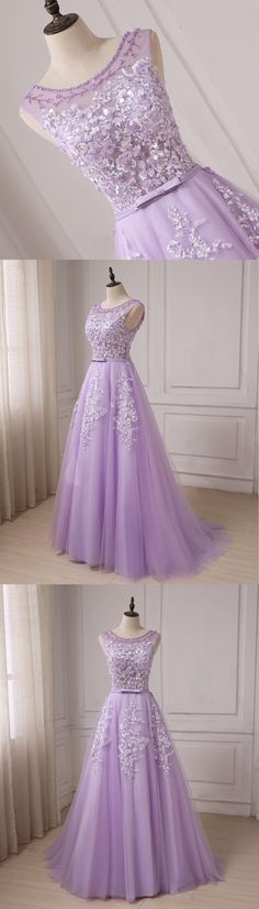 Lavender tulle scoop neck long A-line halter senior prom dress with bowknot #prom #dress #promdress #promdresses
