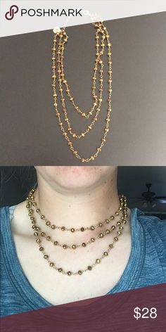 Kristalize 3 Layered Choker Brown and gold color. Very pretty! Lobster clasp. Jewelry Necklaces