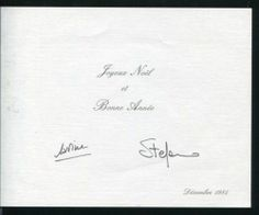 1984  Moving ahead a few years, Princess Caroline sent out this Christmas card in 1984. It featured a yawning baby Andrea Casiraghi who had been born in June of that year.Here is the inside of the card, signed by Caroline and her husband Stefano