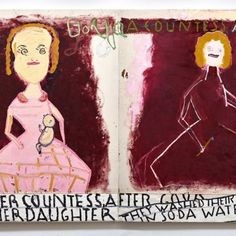 Goya Girls (Dark Red) 2016 Oil on Canvas 208 x 366 cm, Rose Wylie Rose Wylie, Red 2016, Ruth Asawa, Artist Journal, Royal College Of Art, Corporate Design, National Museum, Altered Books, Sketchbooks