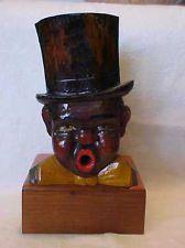 Vintage Large BLACK AMERICANA Man w/Top Hat WOOD CIGARETTE DISPENSER Rare EX NR