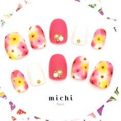 クレヨン風お花アートネイル - ネイルチップ(つけ爪)専門店ミチネイル