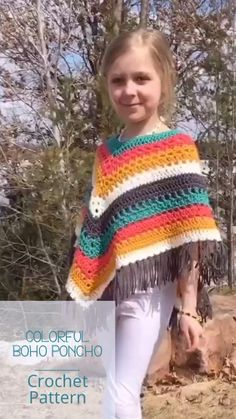 Crochet Toddler, Cute Crochet, Crochet For Kids, Crochet Top, Crochet Poncho Patterns, Crocheting Patterns, Kids Poncho, Hippie Crochet, Kids Patterns