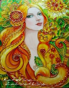Ekaterina Zakhvatkina's photos Kerala Mural Painting, Painting Collage, Fantasy Kunst, Fantasy Art, Portrait Art, Portraits, Painting On Glass Windows, Stained Glass Paint, Mural Art