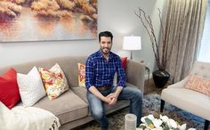"Buying & Selling | BUDGET BLINDS | Santino & Andrea Reveal: Embroidered Moroccan Star drapery panels in khaki paired with 2"" faux wood blinds -- and Jonathan Scott!"