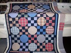 Kay made this quilt from men's shirts. She used the shirt button plackets for borders around the outside of the quilt. Kay also made use of shirts by Flannel Quilts, Plaid Quilt, Cute Quilts, Boy Quilts, Scrappy Quilts, Shirt Quilts, Old Shirts, Dad To Be Shirts, Snowball Quilts