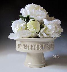 Cake Plate Wedding Decor Personalized ceramic cake by MaidOfClay