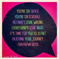 You're on track, on schedule, nothings gone wrong, everything's gone right. It's time for you to start enjoying your journey. -Abraham Hicks
