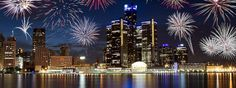 This is DETROIT - View of Detroit Riverfront from Windsor Canada during Firework Day