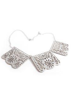 papel picado necklace silver