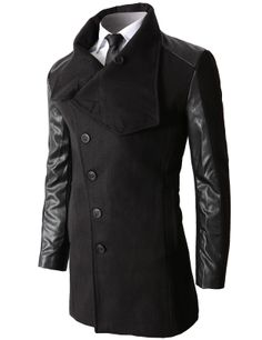 #Mens#fashion  Wool Slim Fit Single Coat With Synthetic Leather On The Sleeves (KMOCO032)