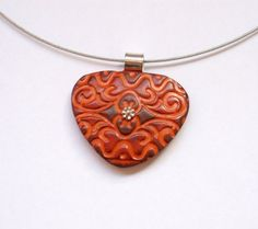 Tangerine brown and silver textured faux leather finish hand made polymer clay pendant by OrlyFuchsGalchen