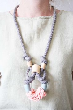 Grey and Petite Coral Rope Necklace