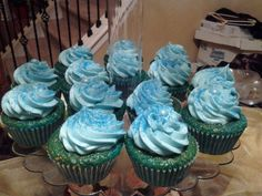 Ice Blue Blossoms Tipsy Cake (Gin) #ChocolateBlossomsEdibleCreations   #cupcakes     #alcoholinfused         #customcupcakes