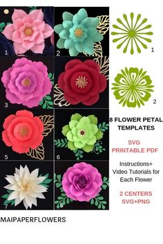 Paper Flower Template SVG PDF Large Paper Flowers Svg Flowers Svg Files Flores De Papel Flower svg Giant Paper Flowers These paper flower pattern templates SVG printable PDF are great for making large paper flowers easily fast and affordable. Large Paper Flower Template, Flower Petal Template, Paper Flower Patterns, Easy Paper Flowers, Flower Svg, Paper Flower Tutorial, Flower Petals, Flower Clipart, Flower Wall