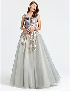 2017+Formal+Evening+Dress+-+Floral+Ball+Gown+Straps+Floor-length+Satin+Tulle+with+Appliques+Bow(s)+Flower(s)+–+USD+$+499.98