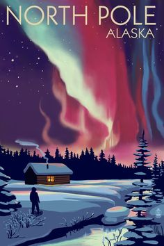 Print (Alaska - Northern Lights & Cabin - Lantern Press Artwork) - What is the Aurora Borealis? City Poster, Poster Art, Poster Prints, Art Prints, Posters Wall, Posters Decor, Aurora Borealis, Travel Sticker, Alaska Northern Lights