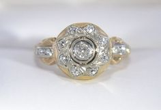 Antique Diamond Cluster Engagement Promise or Right by Ringtique, $395.00